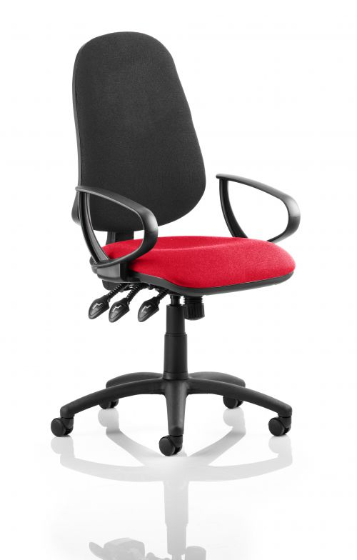 Eclipse XL Lever Task Operator Chair Black Back Bespoke Seat With Loop Arms In Post Box Red
