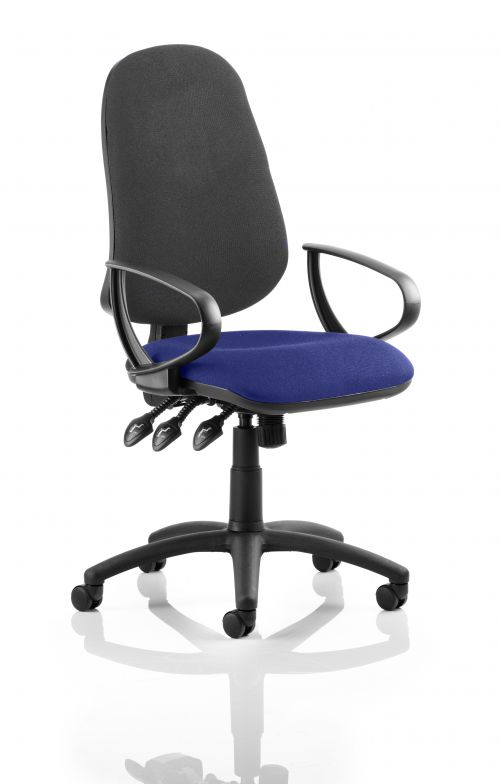 Eclipse XL Lever Task Operator Chair Black Back Bespoke Seat With Loop Arms In Admiral Blue