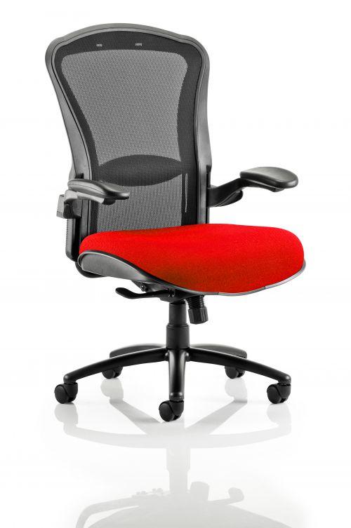 Houston Heavy Duty Task Operator Chair Black Mesh Back Bespoke Seat In Post Box Red