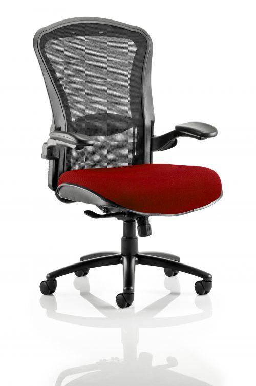 Houston Heavy Duty Task Operator Chair Black Mesh Back Bespoke Seat In Ginseng Chilli