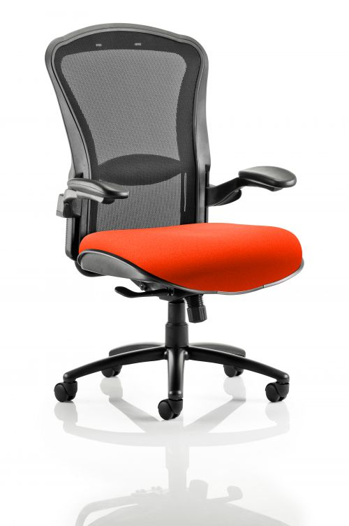 Houston Heavy Duty Task Operator Chair Black Mesh Back Bespoke Seat In Orange