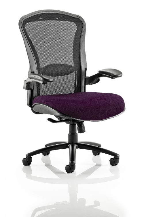 Houston Heavy Duty Task Operator Chair Black Mesh Back Bespoke Seat In Purple