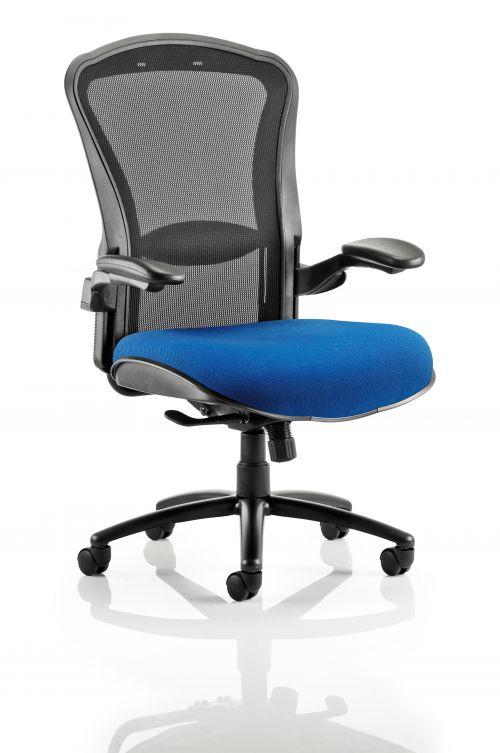 Houston Heavy Duty Task Operator Chair Black Mesh Back Bespoke Seat In Admiral Blue
