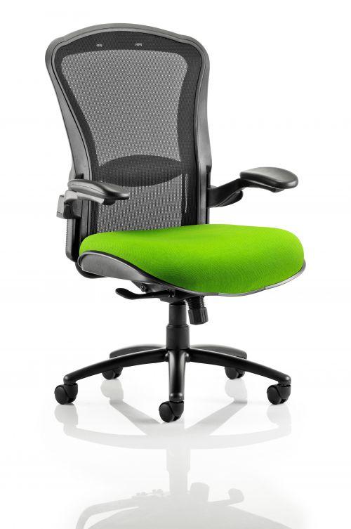 Houston Heavy Duty Task Operator Chair Black Mesh Back Bespoke Seat In Lime