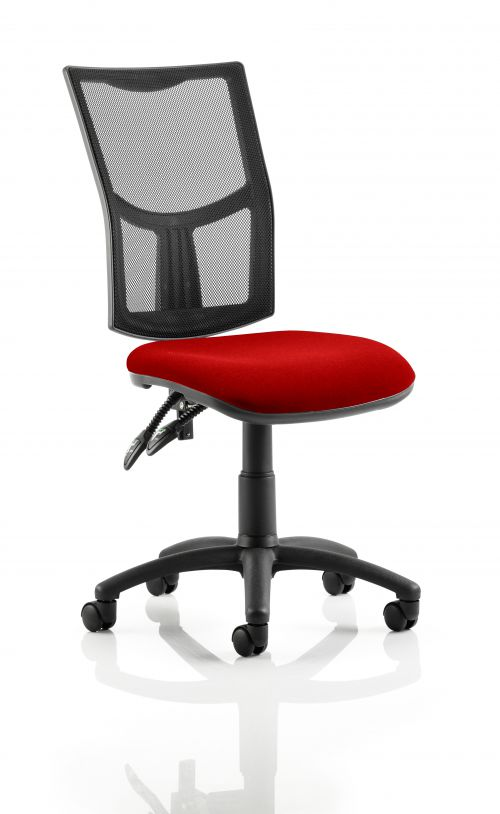 Eclipse II Lever Task Operator Chair Mesh Back With Bespoke Colour Seat in Post Box Red