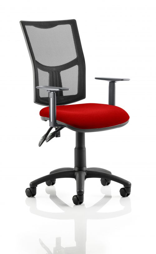 Eclipse II Lever Task Operator Chair Mesh Back With Bespoke Colour Seat in Post Box Red With Height Adjustable Arms
