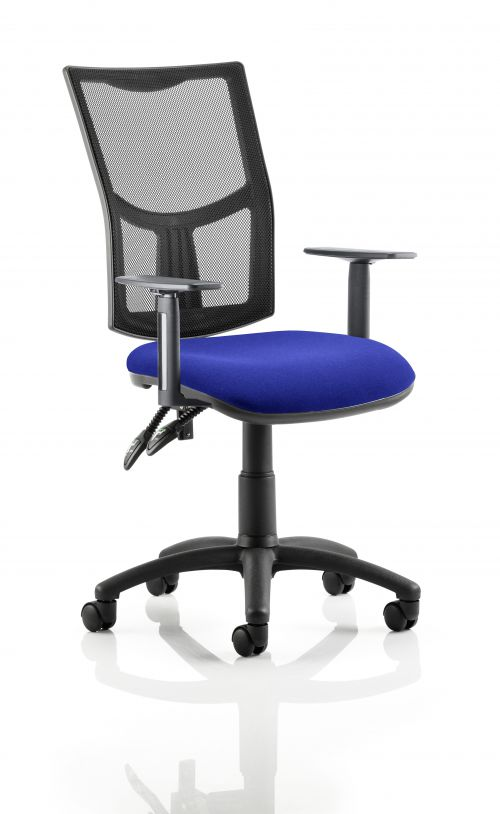Eclipse II Lever Task Operator Chair Mesh Back With Bespoke Colour Seat in Admiral Blue With Height Adjustable Arms