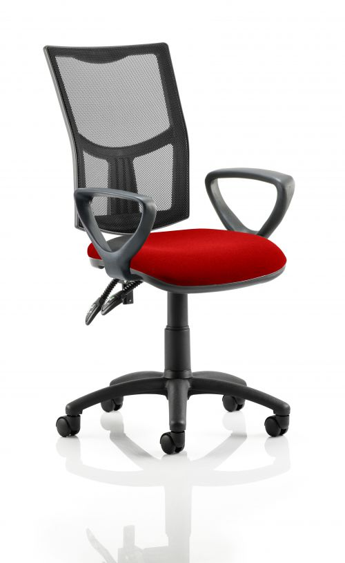 Eclipse II Lever Task Operator Chair Mesh Back With Bespoke Colour Seat With loop Arms in Post Box Red