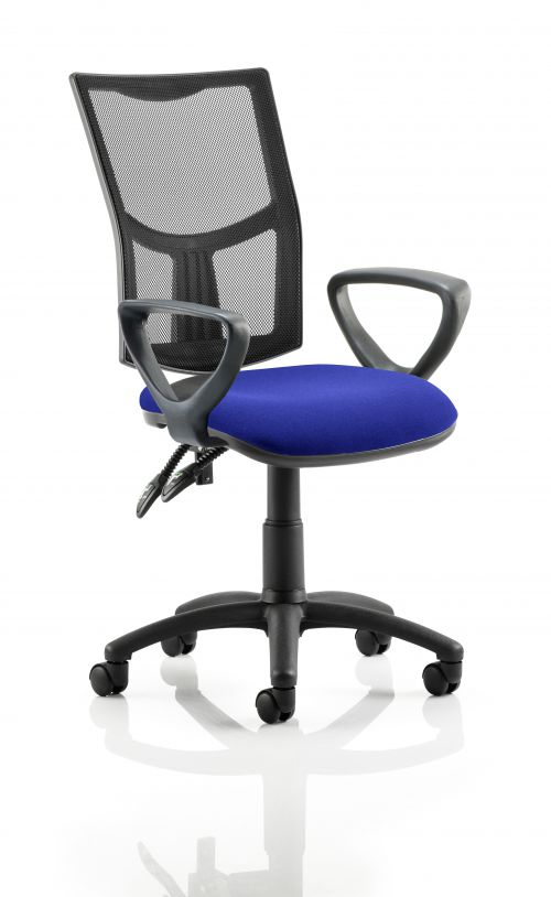 Eclipse II Lever Task Operator Chair Mesh Back With Bespoke Colour Seat With loop Arms in Admiral Blue
