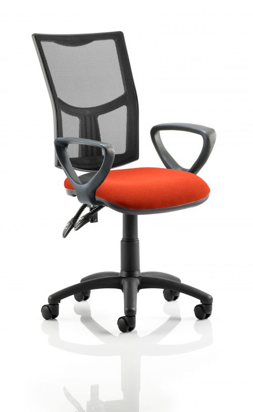 Eclipse II Lever Task Operator Chair Mesh Back With Bespoke Colour Seat With loop Arms in Orange