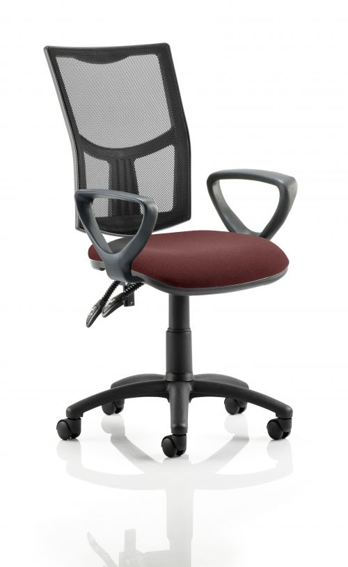 Eclipse II Lever Task Operator Chair Mesh Back With Bespoke Colour Seat With loop Arms in Ginseng Chilli