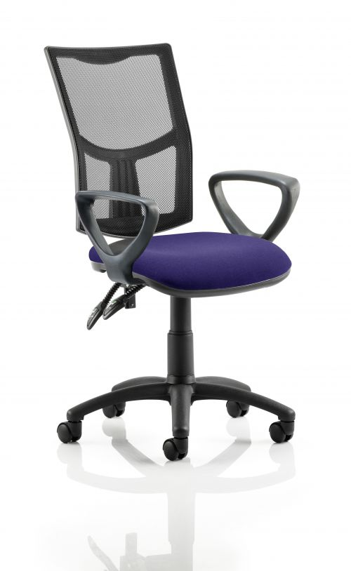 Eclipse II Lever Task Operator Chair Mesh Back With Bespoke Colour Seat With loop Arms in Purple