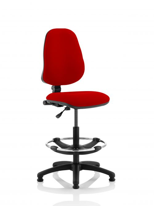 Eclipse I Lever Task Operator Chair Post Box Red Fully Bespoke Colour With Hi Rise Draughtsman Kit