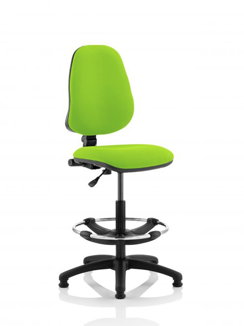 Eclipse I Lever Task Operator Chair Lime Fully Bespoke Colour With Hi Rise Draughtsman Kit