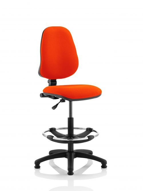 Eclipse I Lever Task Operator Chair Orange Fully Bespoke Colour With Hi Rise Draughtsman Kit