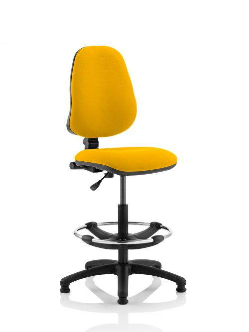 Eclipse I Lever Task Operator Chair Yellow Fully Bespoke Colour With Hi Rise Draughtsman Kit