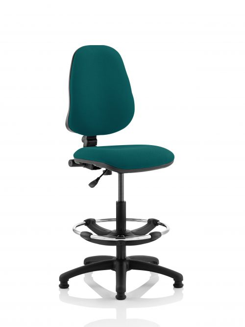 Eclipse I Lever Task Operator Chair Teal Fully Bespoke Colour With Hi Rise Draughtsman Kit