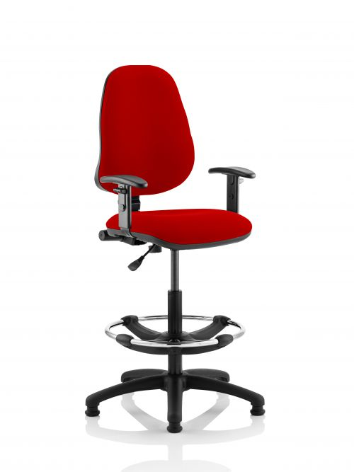 Eclipse I Lever Task Operator Chair Post Box Red Fully Bespoke Colour With Height Adjustable Arms with Hi Rise Draughtsman Kit