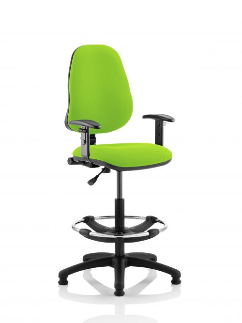 Eclipse I Lever Task Operator Chair Lime Fully Bespoke Colour With Height Adjustable Arms with Hi Rise Draughtsman Kit