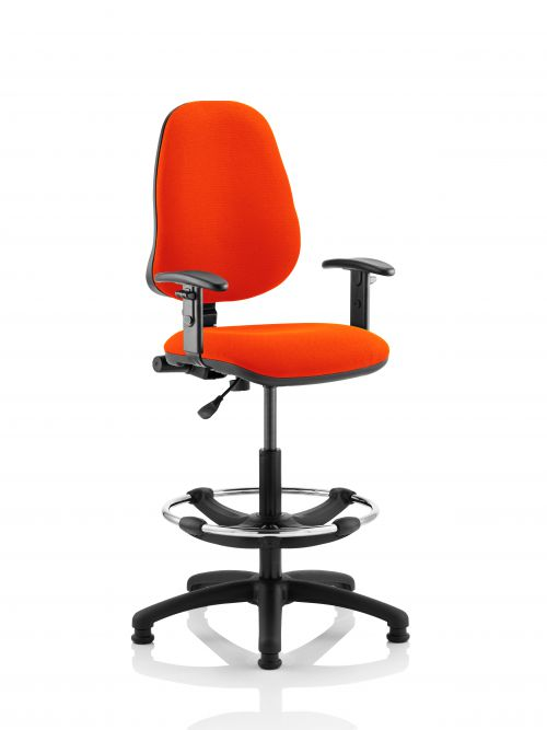 Eclipse I Lever Task Operator Chair Orange Fully Bespoke Colour With Height Adjustable Arms with Hi Rise Draughtsman Kit