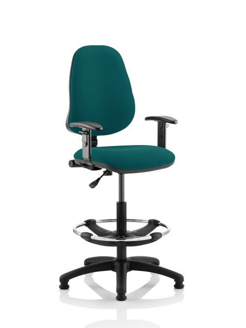 Eclipse I Lever Task Operator Chair Teal Fully Bespoke Colour With Height Adjustable Arms with Hi Rise Draughtsman Kit