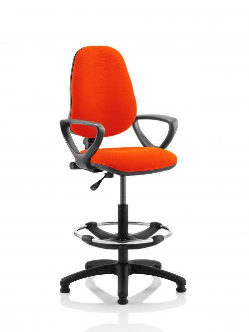 Eclipse I Lever Task Operator Chair Orange Fully Bespoke Colour With Loop Arms with Hi Rise Draughtsman Kit