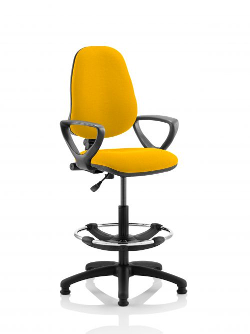 Eclipse I Lever Task Operator Chair Yellow Fully Bespoke Colour With Loop Arms with Hi Rise Draughtsman Kit