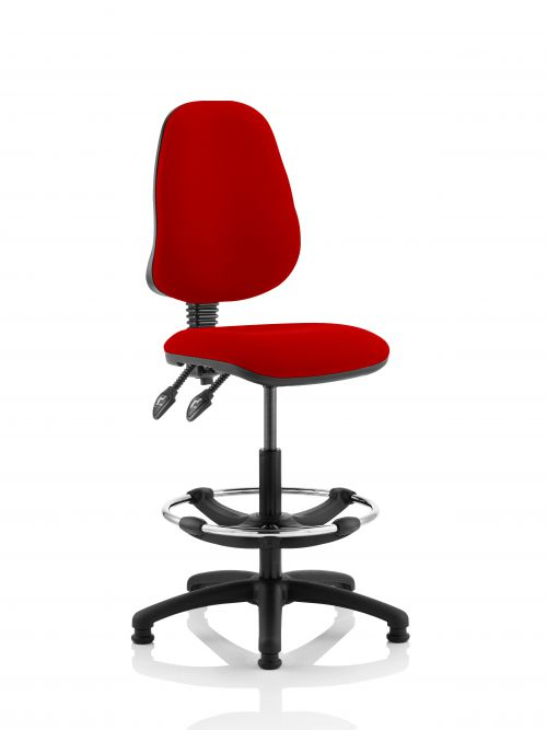 Eclipse II Lever Task Operator Chair Post Box Red Fully Bespoke Colour With Hi Rise Draughtsman Kit