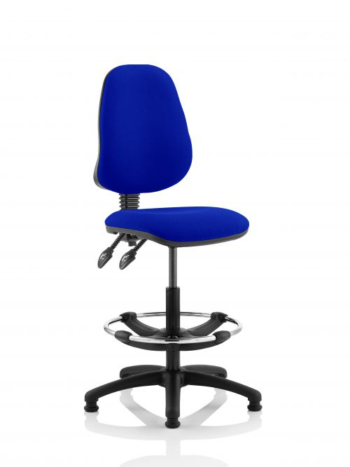 Eclipse II Lever Task Operator Chair Admiral Blue Fully Bespoke Colour With Hi Rise Draughtsman Kit