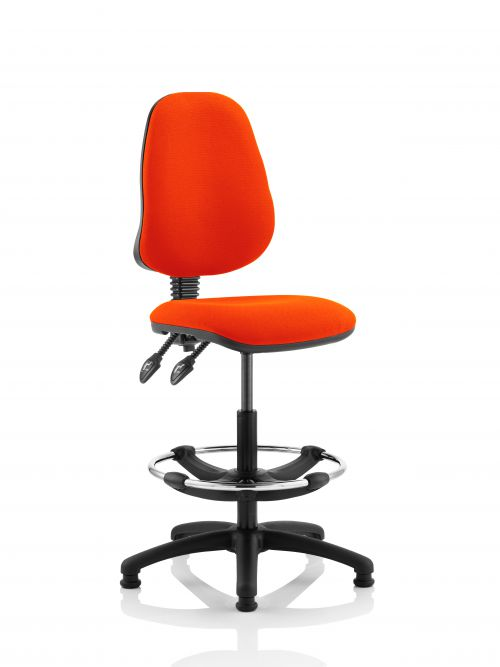 Eclipse II Lever Task Operator Chair Orange Fully Bespoke Colour With Hi Rise Draughtsman Kit