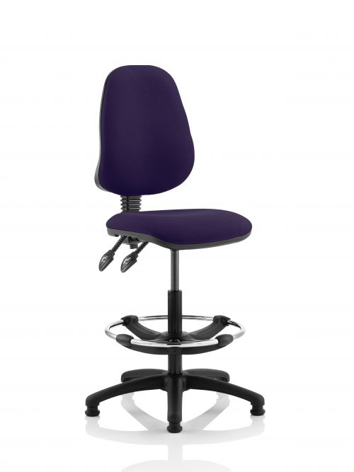 Eclipse II Lever Task Operator Chair Purple Fully Bespoke Colour With Hi Rise Draughtsman Kit