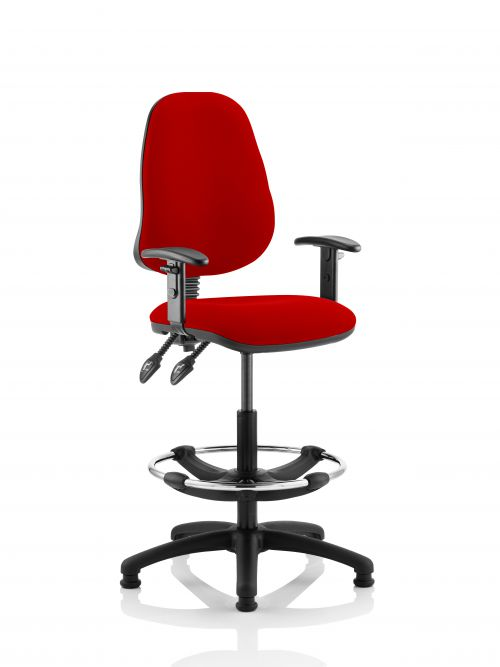 Eclipse II Lever Task Operator Chair Post Box Red Fully Bespoke Colour With Height Adjustable Arms With Hi Rise Draughtsman Kit