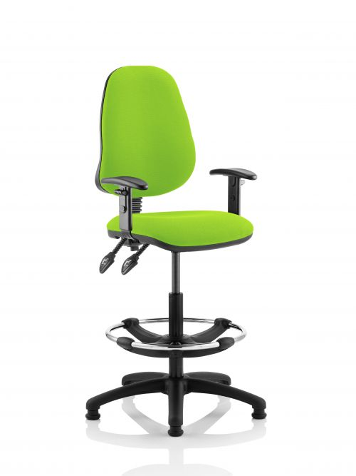 Eclipse II Lever Task Operator Chair Lime Fully Bespoke Colour With Height Adjustable Arms With Hi Rise Draughtsman Kit