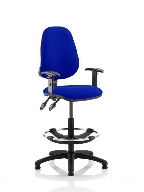 Eclipse II Lever Task Operator Chair Admiral Blue Fully Bespoke Colour With Height Adjustable Arms With Hi Rise Draughtsman Kit