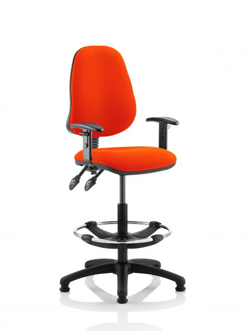Eclipse II Lever Task Operator Chair Orange Fully Bespoke Colour With Height Adjustable Arms With Hi Rise Draughtsman Kit