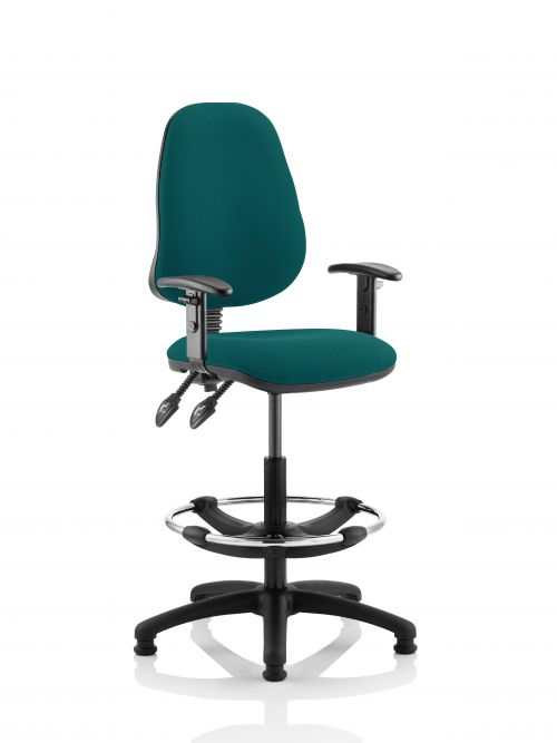 Eclipse II Lever Task Operator Chair Teal Fully Bespoke Colour With Height Adjustable Arms With Hi Rise Draughtsman Kit