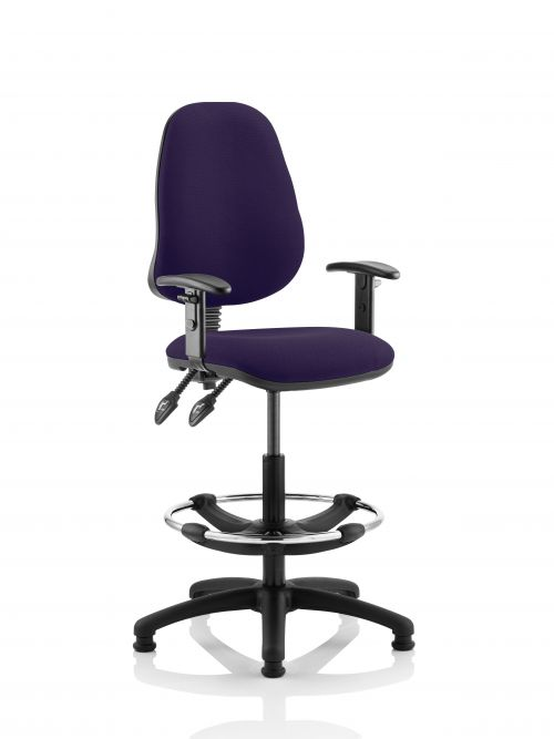 Eclipse II Lever Task Operator Chair Purple Fully Bespoke Colour With Height Adjustable Arms With Hi Rise Draughtsman Kit