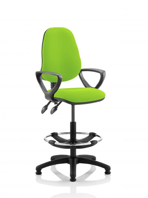 Eclipse II Lever Task Operator Chair Lime Fully Bespoke Colour With Loop Arms With Hi Rise Draughtsman Kit