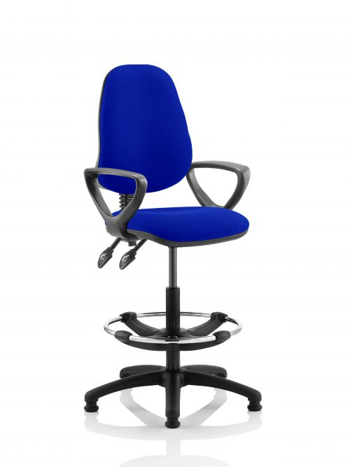 Eclipse II Lever Task Operator Chair Admiral Blue Fully Bespoke Colour With Loop Arms With Hi Rise Draughtsman Kit