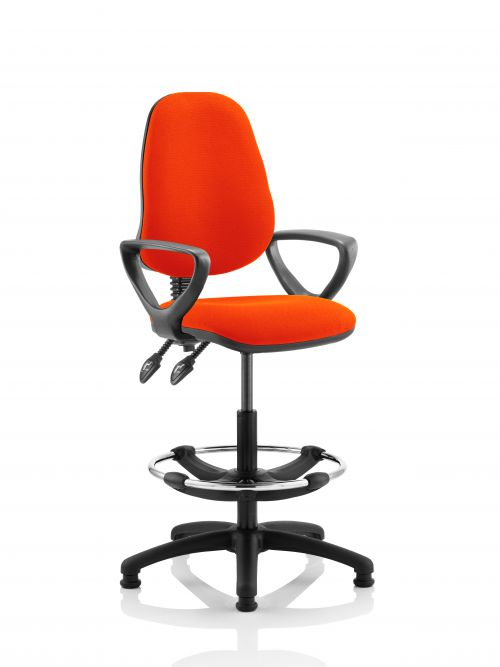 Eclipse II Lever Task Operator Chair Orange Fully Bespoke Colour With Loop Arms With Hi Rise Draughtsman Kit