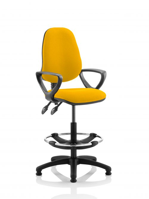 Eclipse II Lever Task Operator Chair Yellow Fully Bespoke Colour With Loop Arms With Hi Rise Draughtsman Kit