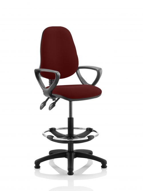 Eclipse II Lever Task Operator Chair Maroon Fully Bespoke Colour With Loop Arms With Hi Rise Draughtsman Kit