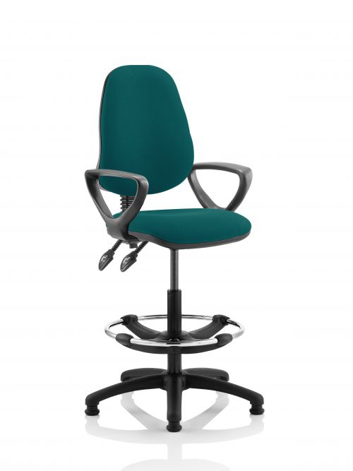 Eclipse II Lever Task Operator Chair Kingsfisher Fully Bespoke Colour With Loop Arms With Hi Rise Draughtsman Kit