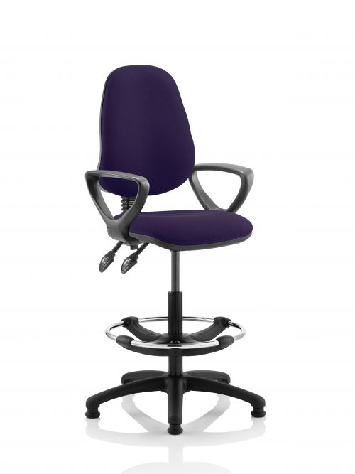 Eclipse II Lever Task Operator Chair Purple Fully Bespoke Colour With Loop Arms With Hi Rise Draughtsman Kit
