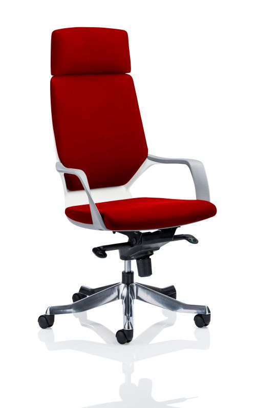 Xenon Executive White Shell High Back With Headrest Fully Bespoke Colour Post Box Red