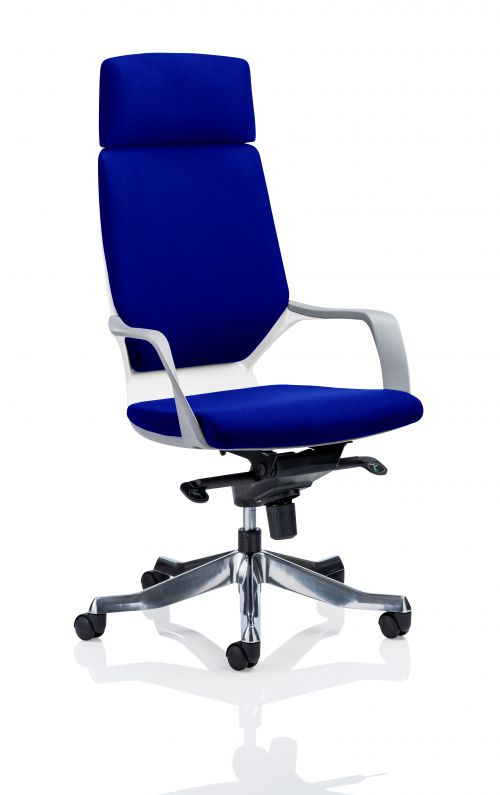 Xenon Executive White Shell High Back With Headrest Fully Bespoke Colour Admiral Blue