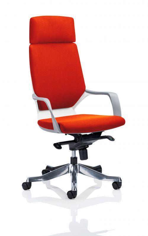 Xenon Executive White Shell High Back With Headrest Fully Bespoke Colour Orange