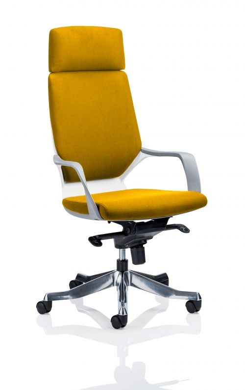Xenon Executive White Shell High Back With Headrest Fully Bespoke Colour Yellow