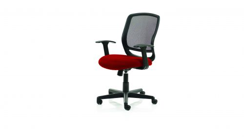 Mave Task Operator Chair Black Mesh With Arms Bespoke Colour Seat Post Box Red