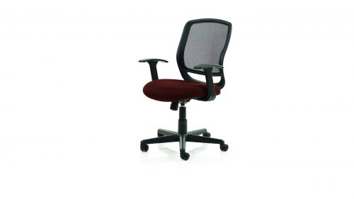Mave Task Operator Chair Black Mesh With Arms Bespoke Colour Seat Ginseng Chilli